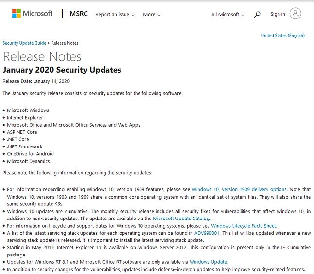 Ogłoszenie styczniowych poprawek (fot. Microsoft)