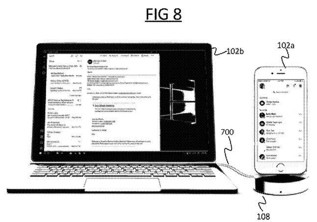 Stacja dokująca do iPhone'a ma być zgodna z Windowsem 10, fot. zgłoszenie patentowe Microsoftu.