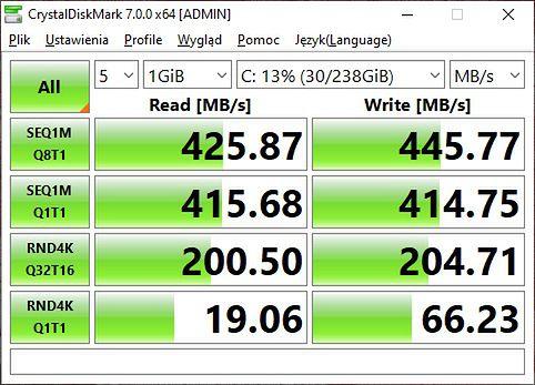 Prędkości nowego SSD. W tym laptopie nowy dysk robi robotę ;)