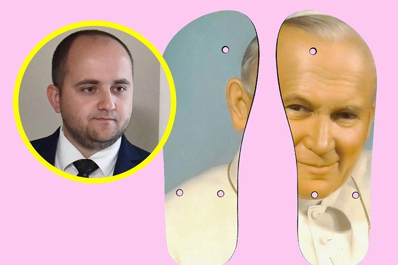Człowiek Ziobry oburzony na klapki. Chodzi o japonki z wizerunkiem Jana Pawła II