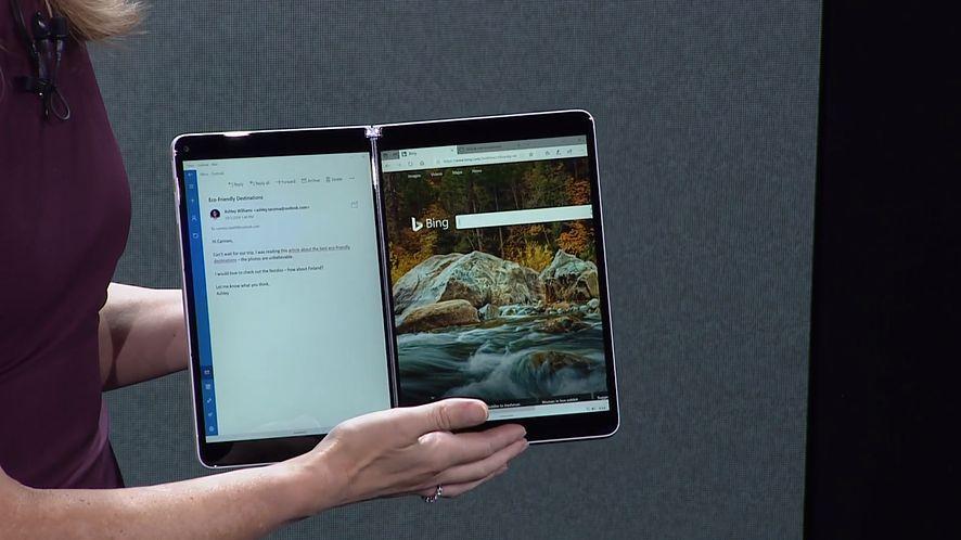 Microsoft Windows 10X – system, który czerpie korzyści z dwóch ekranów, fot. zrzut ekranu z prezentacji Microsoftu.
