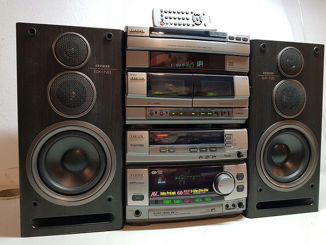 Aiwa NSX-AVH8 - wyższa półka z końca lat 90', na wyposażeniu dekoder ProLogic, zmieniarka, magnetofon z Dolby C...