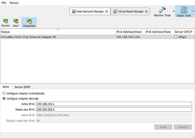 Ustawienia Globalne VirtualBox - Host-Only