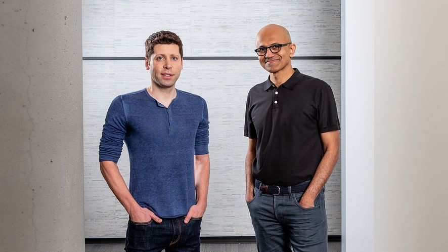Sam Altman, CEO OpenAI (po lewej) i Satya Nadella (po prawej) / Microsoft