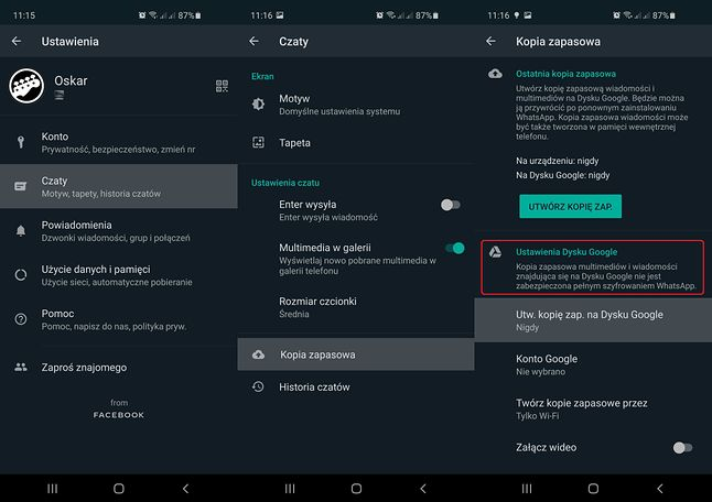 Do informacji o braku szyfrowania kopii zapasowych można dotrzeć w ustawieniach WhatsAppa, fot. Oskar Ziomek.