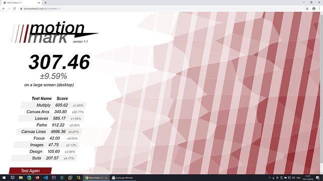 Google Chrome - Motion Mark - Wynik: 307,46