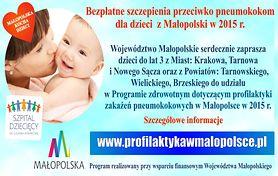 Bezpłatne szczepienia przeciwko pneumokokom dla dzieci z Małopolski