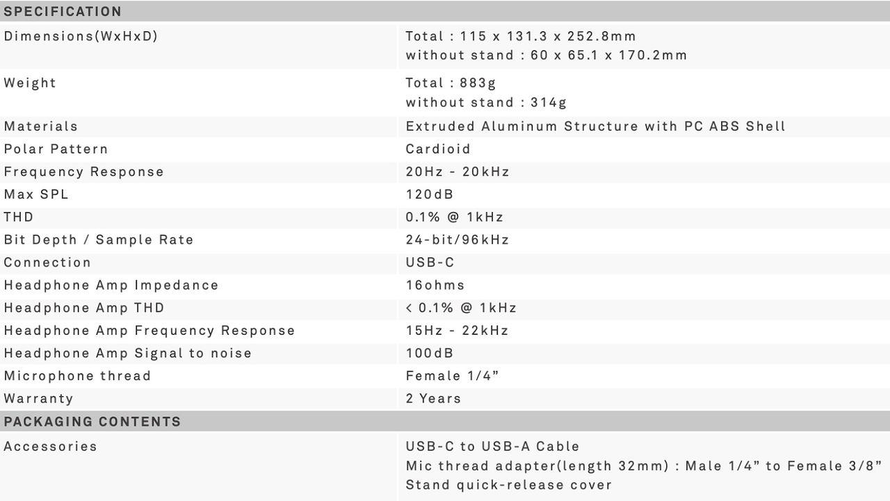 Unboxing i rzut oka na mikrofon NZXT Capsule - Parametry mikrofonu Capsule.