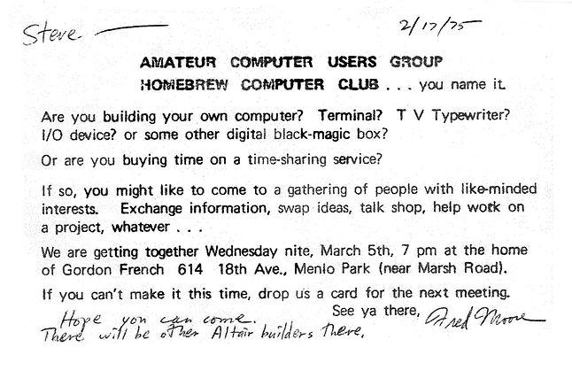 Zaproszenie na inauguracyjne spotkanie Homebrew Computer Club (źródło: Wikipedia, CC BY-SA 3.0)