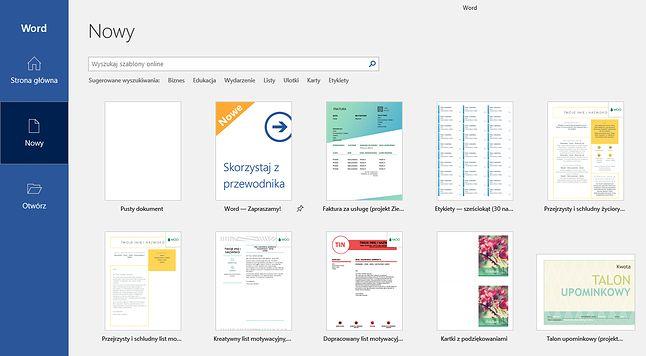 Word w ramach Office 2019 i szablony dokumentów. Wkrótce dołączą do nich podpowiedzi związane z samą treścią.