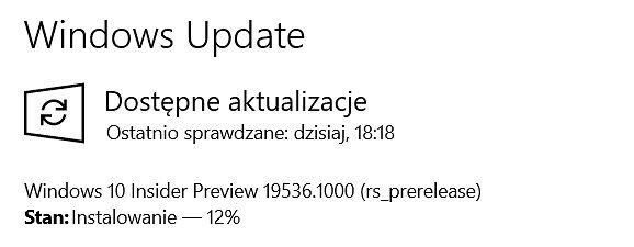 Windows 10 Build 19536 w Windows Update.