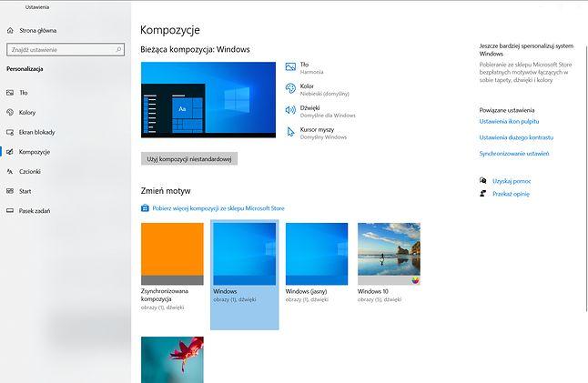 Kompozycje w Windows 10. Kolejne można pobierać w Microsoft Store.