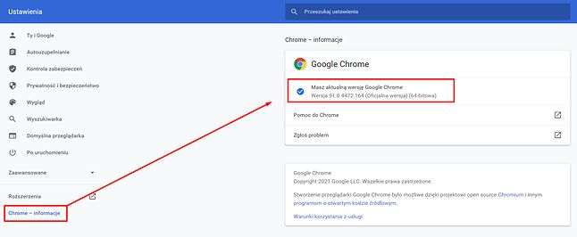 Sprawdzanie wersji Google Chrome w ustawieniach