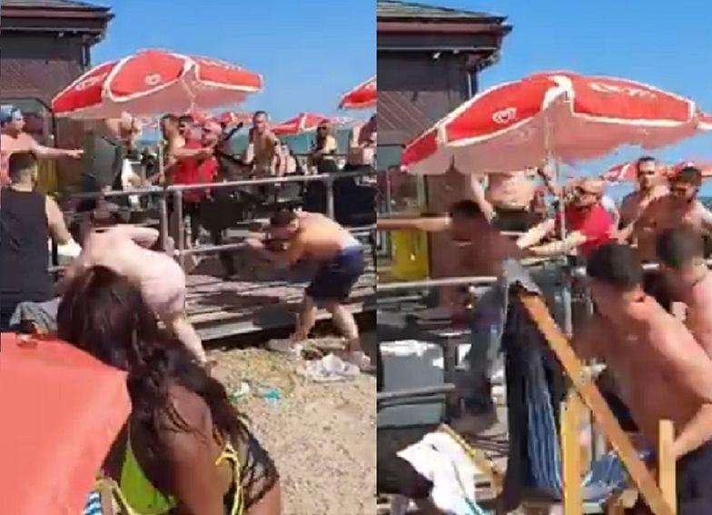 Ogromna bójka na plaży. W ruch poszły leżaki