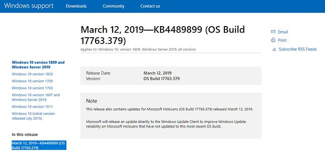 Pakiet łatek KB4489899 może powodować kilka nowych problemów.