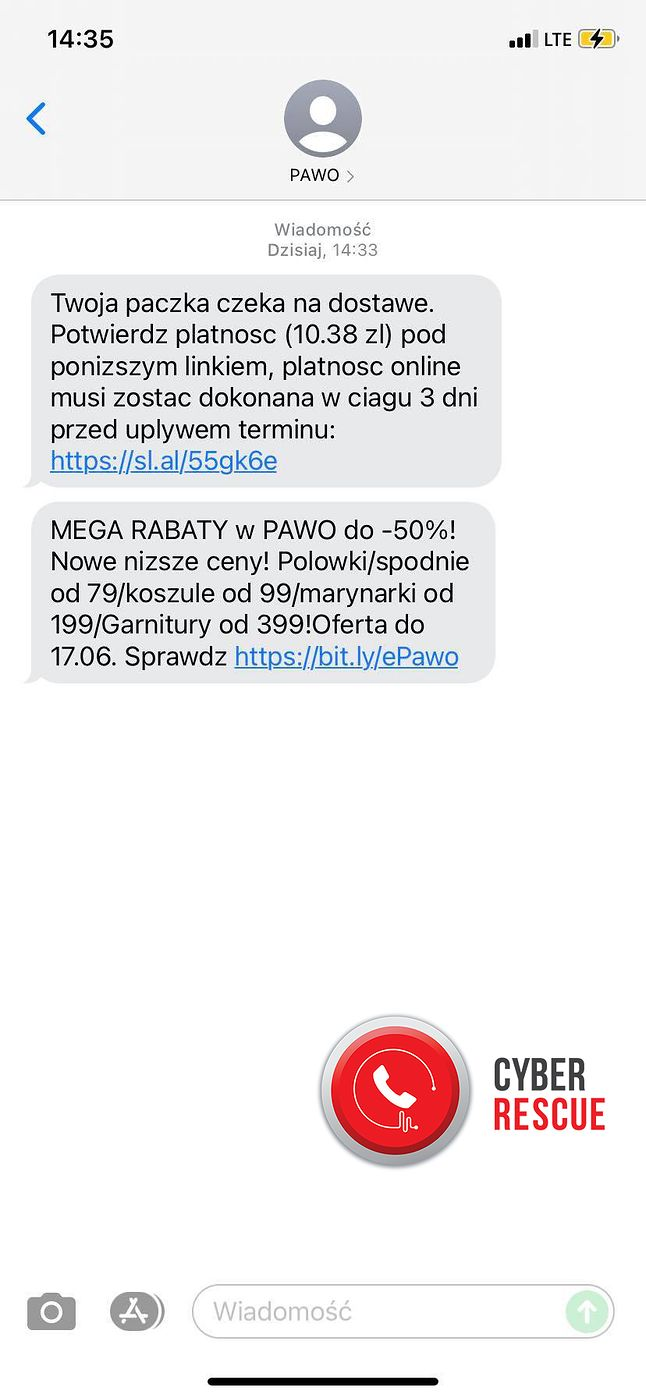 Przykład fałszywej wiadomości SMS