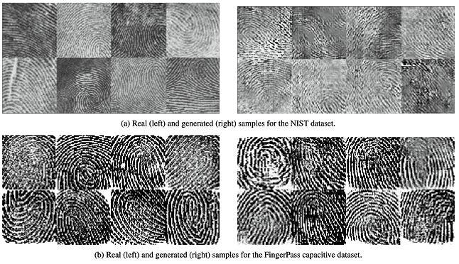 porównanie prawdziwych (L) i generowanych maszynowo (P) odcisków palca