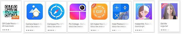 Fleeceware w Sklepie Play z aplikacjami na Androida, źródło: Sophos.