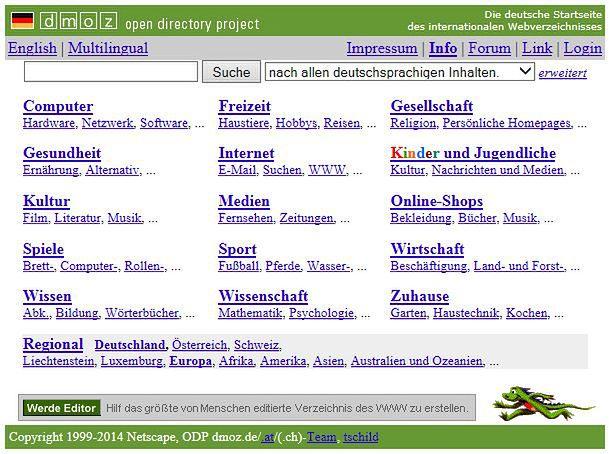 Katalog strong internetowych DMOZ. Wpis w nim był brany przez uwagę przez Google
