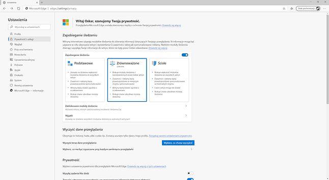 Ustawienia blokowania śledzenia w desktopowej wersji Edge'a.
