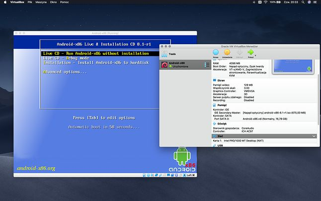 Android-x86 uruchomiony na VirtualBox