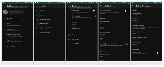 Ciemny motyw w WhatsAppie, źródło: XDA Developers, WABetaInfo.