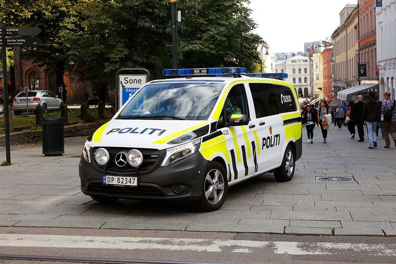 One Norwegian police vehicle patrolling i down town Oslo