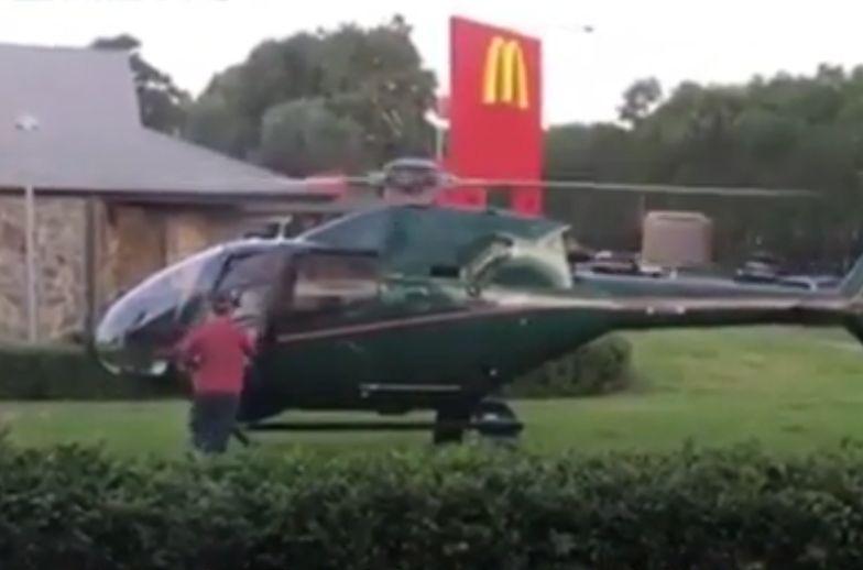 Poleciał do McDonald's helikopterem