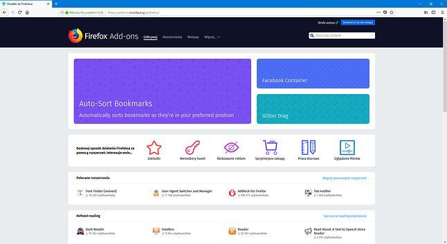 Firefox Add-ons, oficjalne źródło z dodatkami do przeglądarki.