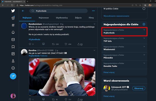 hasło #cykorduda hitem Twittera, fot. Jakub Krawczyński