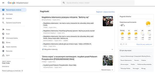 Wiadomości Google ułatwiają śledzenie bieżących informacji z wielu źródeł.