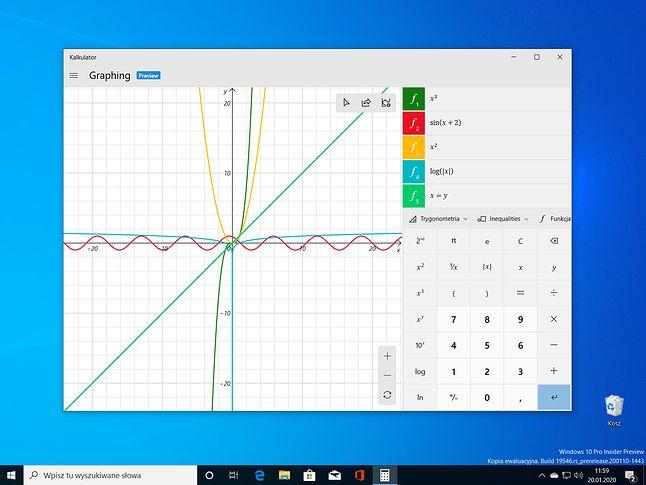 Graficzny kalkulator w Windows 10 Build 19546.