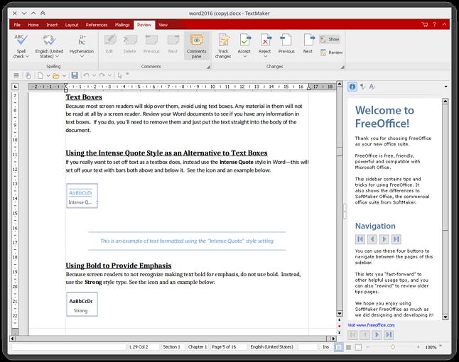 TextMaker z pakietu FreeOffice na Linuksie Manjaro (instalacja z repozytorium AUR)