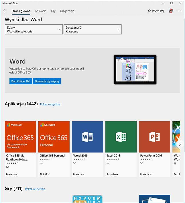 W Sklepie Windows nie znajdziemy mobilnego Worda, ale tego prawdziwego już tak