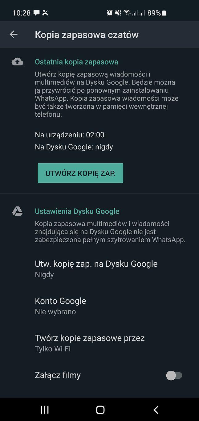 Ustawienia kopii zapasowej w WhatsAppie