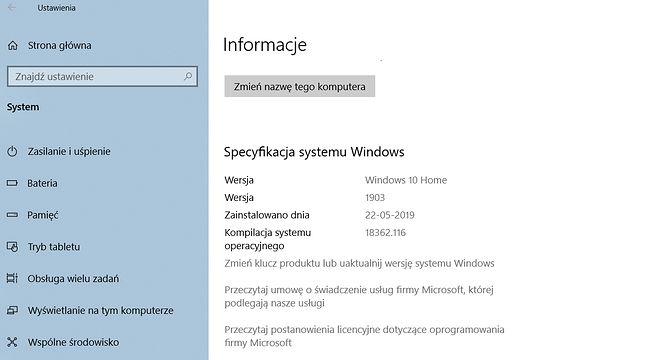 Windows 10 1903 po instalacji.