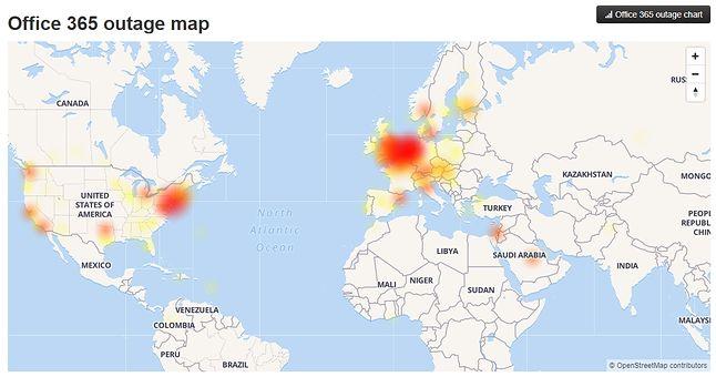Mapa bieżących problemów z Office 365, źródło: downdetector.