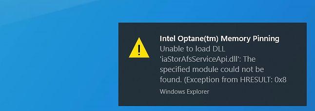 Użytkownicy dysków Intel Optane też mają problemy z Windows 10 20H1, fot. Windows Latest.