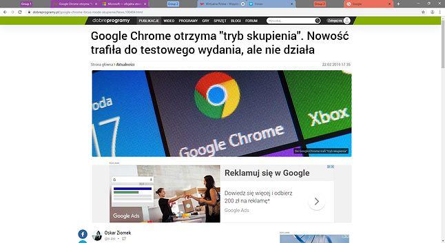Google Chrome Canary i pogrupowane karty na górnym pasku.