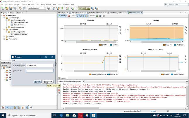 Widok profilowania prostej aplikacji w NetBeans 10.0