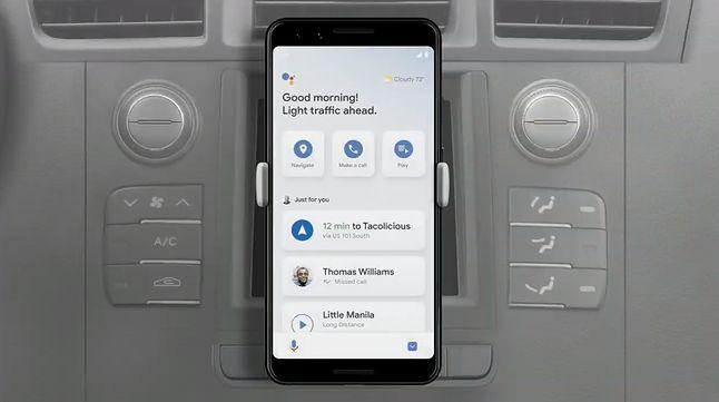 Tryb dla kierowców w Asystencie, fragment prezentacji Google I/O 2019, źrodło: Google.