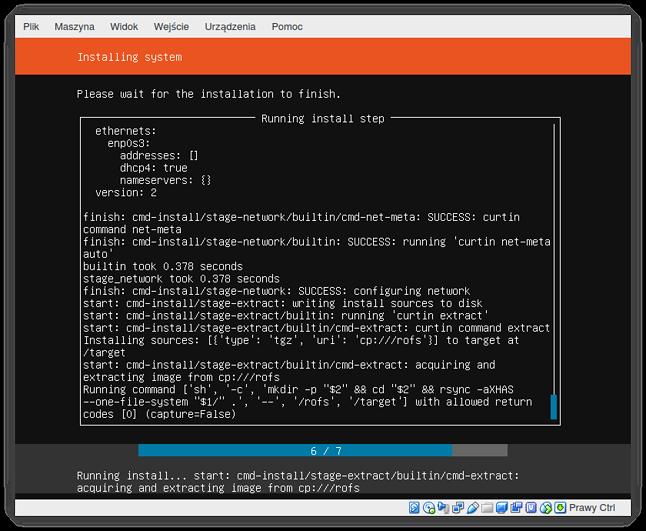 """Instalacja w trakcie – zamiast reklam """"Ubuntu jest najlepsze"""" normalny log"""