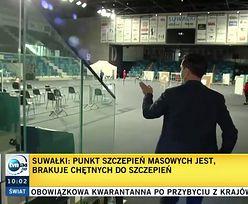 TVP obwieściła sukces suwalskiego punktu szczepień. TVN24 na miejscu zastało jedną osobę