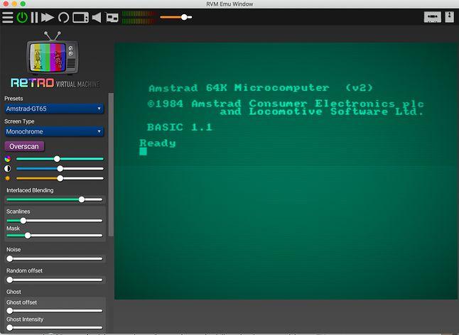 Monitor Amstrad z charakterystycznym rozjaśnieniem na środku ekranu.