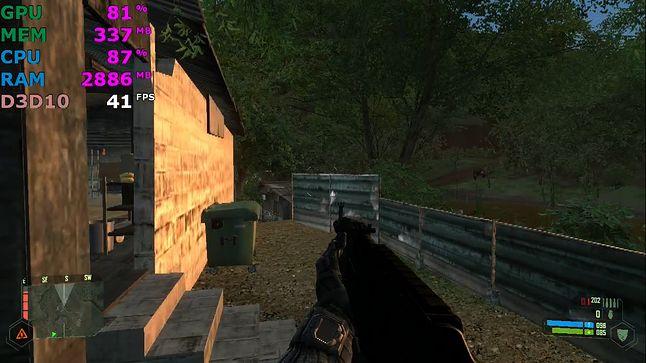 Crysis, 720p, detale niskie, 25-60 FPS.