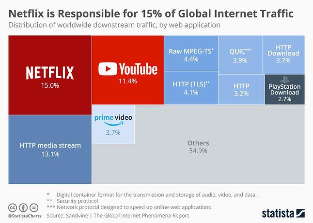Rozbicie światowego ruchu sieciowego na poszczególne usługi, dane z roku 2018, fot. Statista