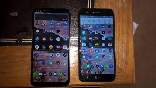 Różnica między starym (po prawej) a nowym (po lewej) telefonem
