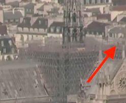 Tajemnicza postać na dachu katedry przed pożarem. Widać było błyski