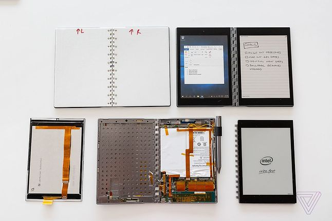 Koncepcja urządzenia z dwoma wyświetlaczami, fot. Intel, The Verge.