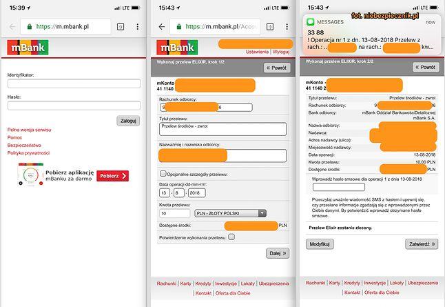 Zlecenie przelewu w mobilnej wersji witryny mBanku, źródło: Niebezpiecznik.